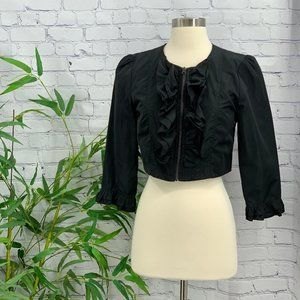 Last Kiss Black Crop Jacket w/ Ruffles